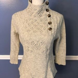 MOTH Anthropologie Gray Shawl Collar Sweater Wool